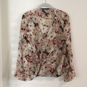 Dark Floral crossover top with bell sleeves